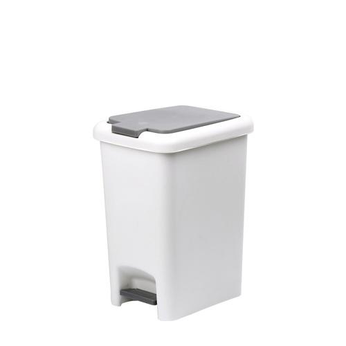 ICLEAN ถังขยะเหยียบเหลี่ยม Prensa 30 ลิตร ขนาด 39x29x49.5 ซม. TG51791 สีขาว/เทา