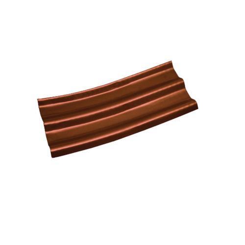 โอฬาร กระเบื้องปลายงอน(ซ้าย-ขวา) 0.50x50x120 ซม.สีหมากแดง (ลูกโลก)  ลอนคู่