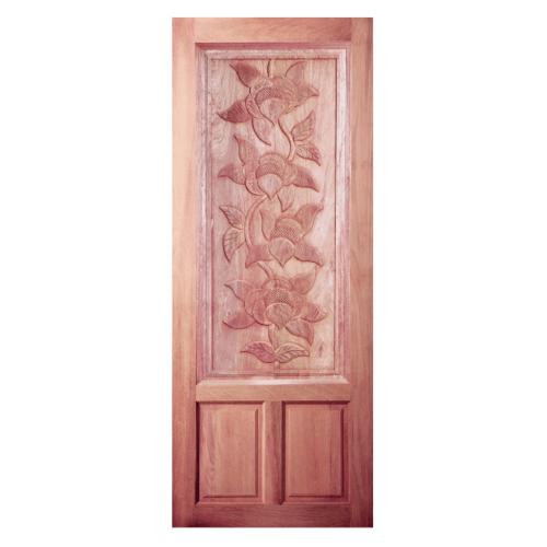 BEST  สพ-ประตูไม้สยาแดง บานทึบลูกฟักแกะลาย 90x200ซม. GC-35
