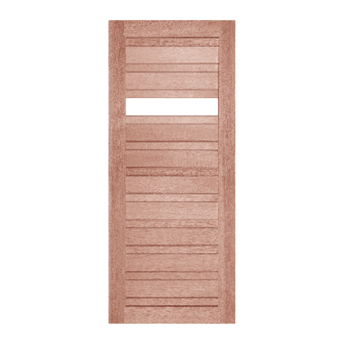 BEST ประตูไม้สยาแดง ทำร่องพร้อมกระจกใส  ขนาด 90x216ซม. GS-53