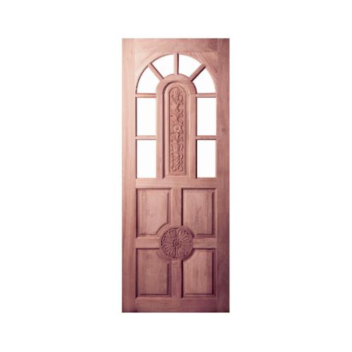 BEST  สพ.ประตูไม้สยาแดง ลูกฟักแกะลายพร้องช่องกระจก (โปร่ง) ขนาด 90x200ซม. GC-76