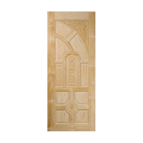 BEST สพ.ประตูไม้สนบานทึบลูกฟักแกะลาย ขนาด 80x180ซม. GC-01