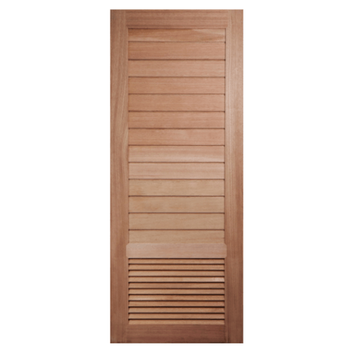 BEST ประตูไม้สยาแดง ทำร่องพร้อมเกล็ดระบายอากาศ 80x220cm.  GS-21