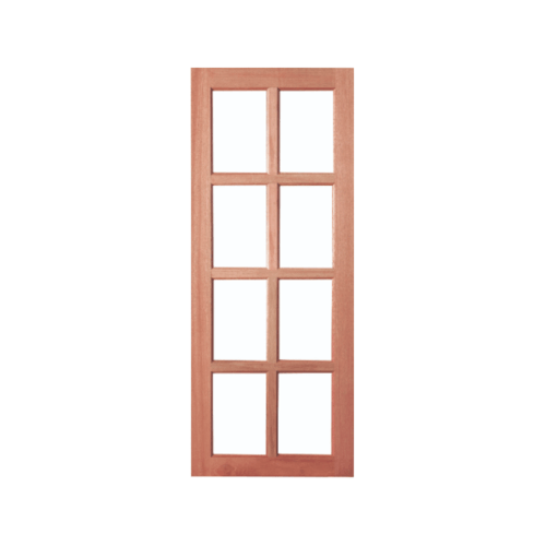 BEST ประตูไม้จาปาการ์ 8ช่องฟักพร้อมกระจกใสขนาด 80x200ซม. GS-48