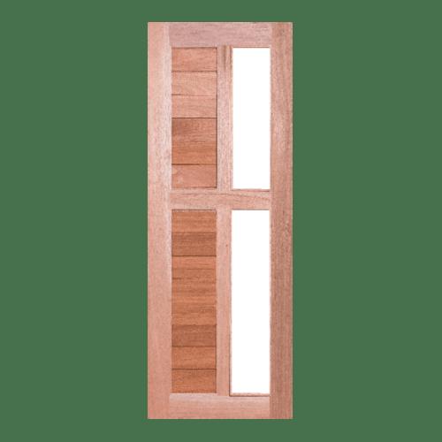 BEST ประตูไม้สยาแดงพร้อมกระจกใส ขนาด 80x180ซม.  GS-57