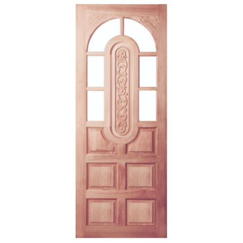 BEST ประตูไม้สน ลูกฟักแกะลาย(โปร่ง) 80x200cm.  GC-73