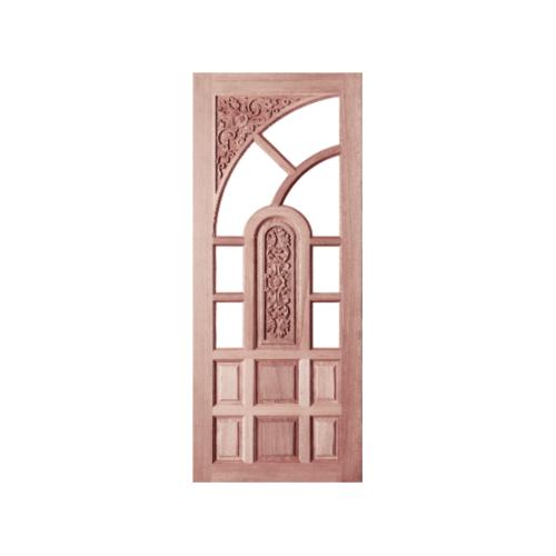 BEST ประตูไม้สยาแดงลูกฟักแกะลาย(โปร่ง) 100x200 ซม. GC-02