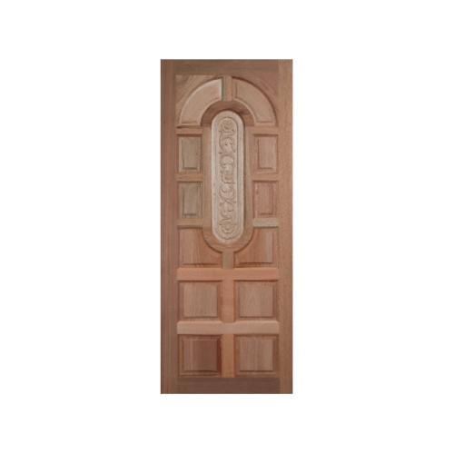 BEST ประตูไม้สยาแดบานทึบแกะลาย 90x200 ซม.  GC-73