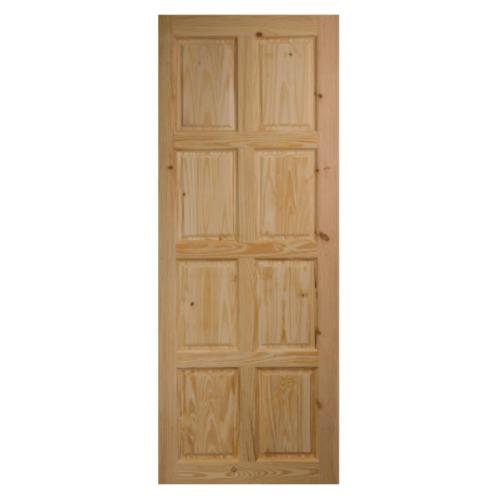 BEST ประตูไม้สน บานทึบ 8ฟัก  100x200cm.  GS-48