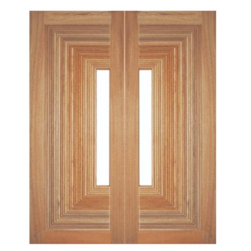 BEST ประตูไม้สยาแดง บานมิติพร้อมกระจก  80x200cm.  GS-05