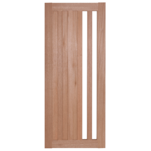 BEST ประตูไม้สยาแดง ทำช่องพร้อมกระจกใส  80x220cm.   GS-47