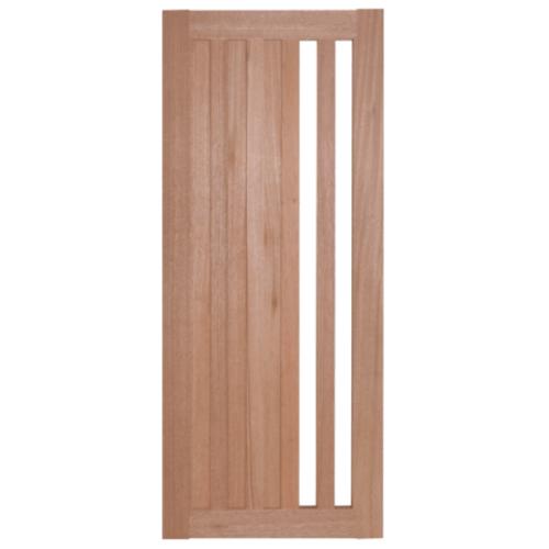 BEST ประตูไม้สยาแดง ทำช่องพร้อมกระจกใส 40x220cm.  GS-47