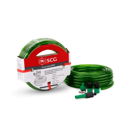 SCG สายยางแฟนซี&หัวฉีด  ขนาด 5/8นิ้วx10 สีเขียว
