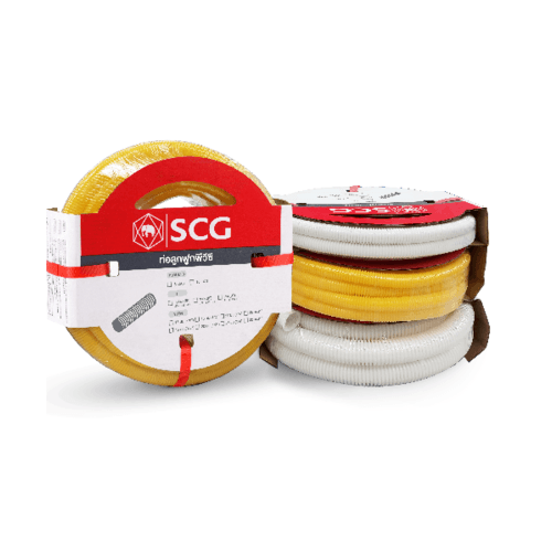 SCG PVC SCG-ลูกฟูกร้อยสายสีเหลือง NPI 15x5  PVC SCG-TOT CORRUGATED CONDUIT