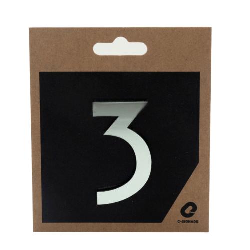 C Signage ป้ายอลูมิเนียม ตัวเลข 3 แบบเงา  CSLS-H 1003