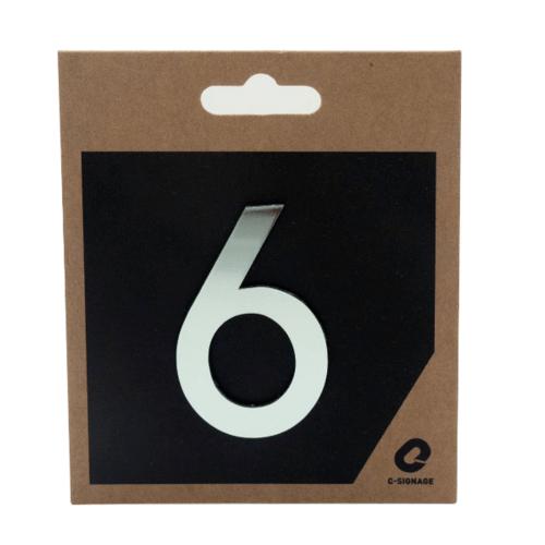 C Signage ป้ายอลูมิเนียม  ตัวเลข 6  แบบเงา  CSLS-H 1006