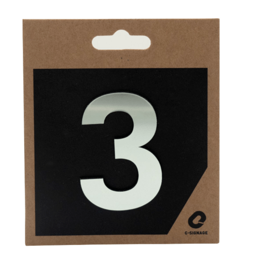 C Signage ป้ายอลูมิเนียม ตัวเลข 3 แบบเงา  CSLS-H 2003