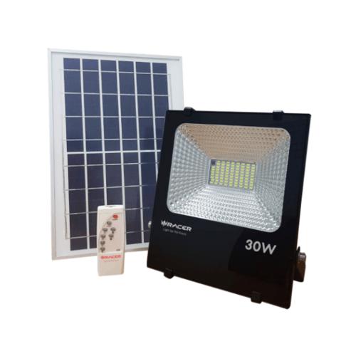 RACER ฟลัชไลท์แอลอีดีแสงอาทิตย์ 30 วัตต์ แสงขาว SOLAR LED FLOODLIGHT 30W 6500K IP65 สีดำ