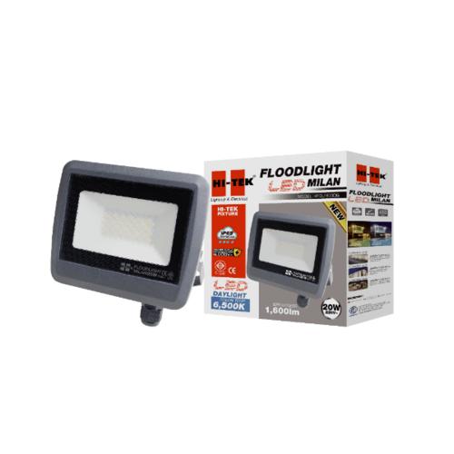 HI-TEK ฝลัดไลท์ LED มิลาน IP65 20W 220V สีเทาดำ แสงขาว HFOLFE20DG