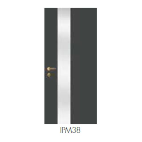 LEOWOOD ประตูปิดผิวเมลามีน บานทึบ iDoor Premium Metal Line สีเงินเส้นใหญ่  ขนาด 80x200ซม.
