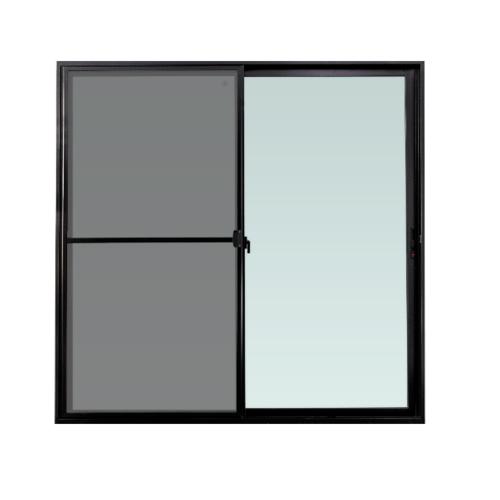 TRUSTAND (EZY WINDOW) ประตูบานเลื่อน SS กว้าง 2000*สูง2050 กระจกเขียว 5 mm. Enzo สีดำพร้อมมุ้งลวด