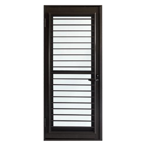 TRUSTAND (EZY WINDOW) ประตูอะลูมิเนียมบานเปิดเดี่ยว Kitchen door ขนาด 100x205 ซม. J-Trust พร้อมมุ้งลวด สีน้ำตาล