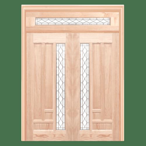 WINDOOR ชุดประตูไม้สนนิวซีแลนด์พร้อมกระจก พีระมิด ขนาด 90x200ซม.  COM14