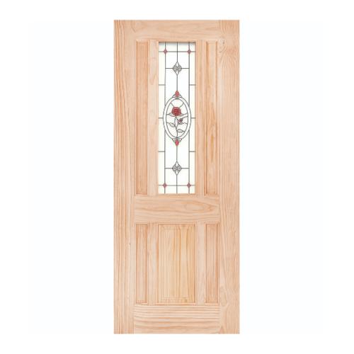 WINDOOR ประตู+กระจก  สนนิวซีแลนด์ ขนาด90x200ซม. MJ-04 สีเหลือง