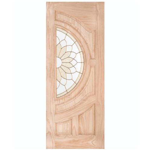 WINDOOR ประตู+กระจก สนนิวซีแลนด์ ขนาด  90x200ซม. SUN FLOWER สีเหลือง