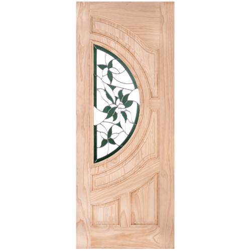 WINDOOR ประตู+กระจกสนนิวซีแลนด์ ขนาด80x200ซม. GLARING GREEN