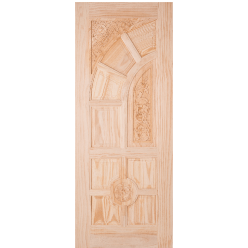 WINDOOR ประตูไม้สนNz ลูกฟักแกะลาย ขนาด100x240cm.   L-666