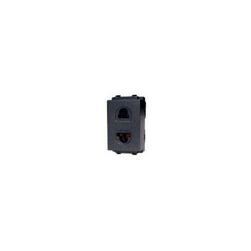 CHANG เต้ารับเดี่ยวเสียบขากลมแบน PCH-901C-BK สีดำ(เม็ททัลลิค)-ช้าง PCH-901C-BK Y-Series Metallic สีดำ