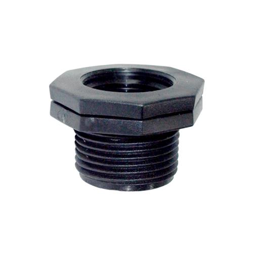 Super Products ข้อลดเหลี่ยมเกลียวนอก - ใน 2 นิ้ว x 1/2 นิ้ว RMF ดำ