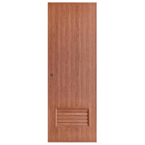 BATHIC  ประตูพีวีซีลายไม้ เกล็ดล่างขนาด  70x180ซม. สีไม้สัก (เจาะ) BL2