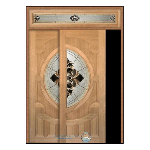 Masterdoors ประตูกระจกไม้สยาแดง ลูกฟักพร้อมกระจก SET 5 200x240cm.  VANDA-03