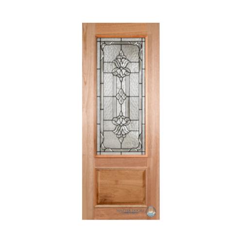 Masterdoors ประตูไม้สยาแดง ลูกฟักพร้อมกระจกนิรภัย  ขนาด 100x242cm.  LOTUS-11