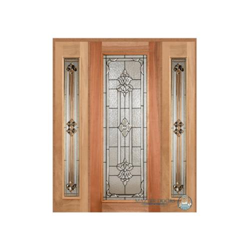 Masterdoors เซท 3 ประตูกระจกไม้สยาแดง(บานเดี่ยว) ขนาด 180x200cm.  LOTUS-11