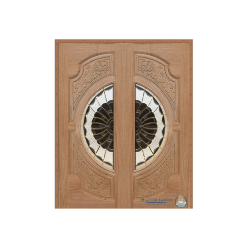 Masterdoors SET 1 ประตูกระจกไม้สยาแดง หงษ์-มังกร ขนาด 160x200 cm.ทำสีโอ๊แดง Vanda-09