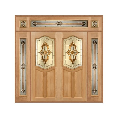 MAZTERDOOR ประตูไม้สยาแดง SET 4  ขนาด 240x245 cm. สีโอ๊ค GENUS-02