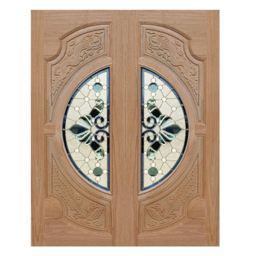 MAZTERDOOR ประตูไม้สยาแดง  (หงษ์+มังกร) 80x200cm. VANDA-08