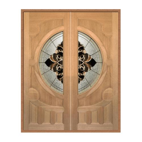 MAZTERDOOR ประตูกระจกไม้สยาแดง(หงษ์+มังกร)  80X200 cm.  VANDA-05