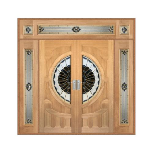 MAZTERDOOR  ประตูไม้สยาแดงกระจกหงษ์+มังกรSET 4ขนาด 240x285cm.  VANDA-09