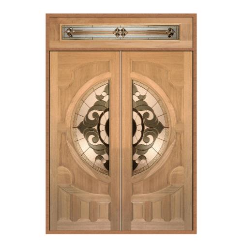 MAZTERDOOR ประตูกระจกไม้สยาแดง SET2  (ดอกไม้L) ขนาด200x240cm. VANDA-01