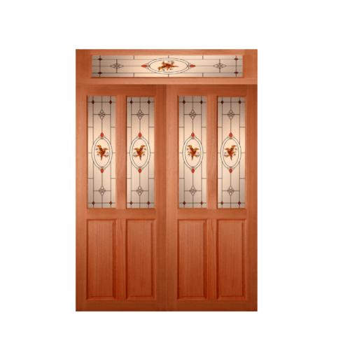 MAZTERDOOR ประตูไม้สยาแดง ลูกฟักพร้อมกระจก  160x240cm.  SET2 SS-02/2
