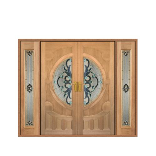 MAZTERDOOR ประตูไม้สยาแดง ลูกฟักพร้อมกระจก SET 3 ขนาด 260x210cm.   VANDA-03