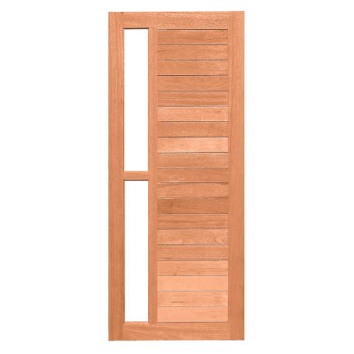 MAZTERDOOR ประตูไม้สยาแดง ทำร่องพร้อมกระจก ขนาด100x200cm.   MD60/5