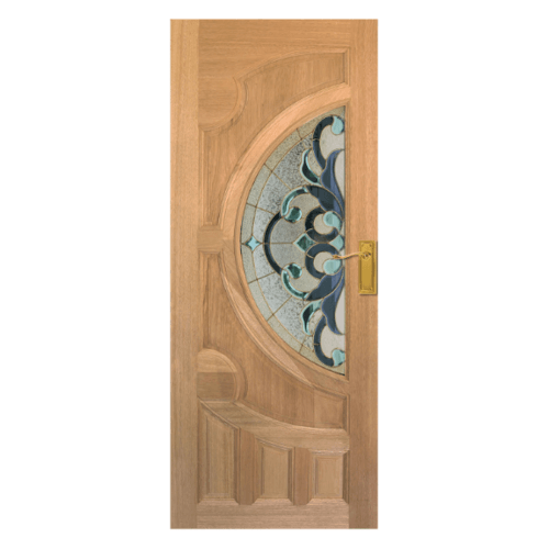 MAZTERDOOR ประตูไม้นาตาเซีย ลูกฟักพร้อมกระจก 90x200cm.   VANDA-03