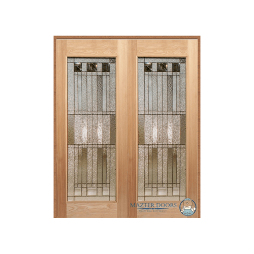 MAZTERDOOR ประตูไม้สยาแดง บานเรียบพร้อมกระจกเพ้นท์ลาย SET 1ขนาด 200X200cm.   LOTUS-12