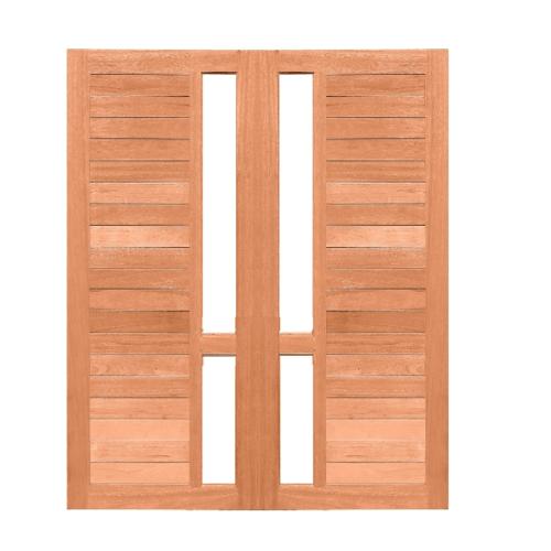 MAZTERDOOR ประตูไม้สยาแดง ทำร่องพร้อมกระจกใส  ขนาด 80x200ซม.