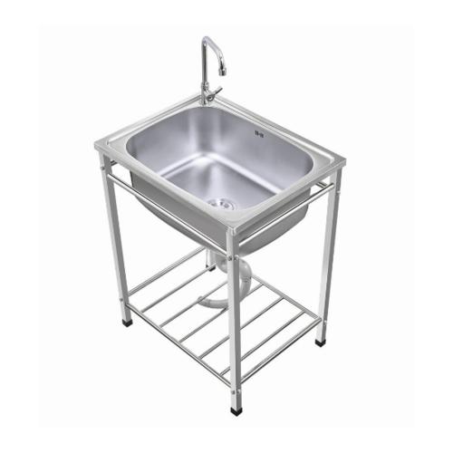 TECNO*  อ่างล้างจานพร้อมขาตั้ง 1 หลุมไม่มีที่พัก  TNS TT 624823 SS